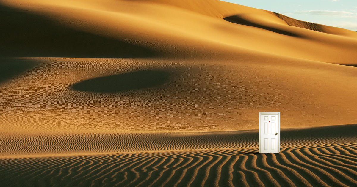 Strange White Door seen in the Gobi Desert