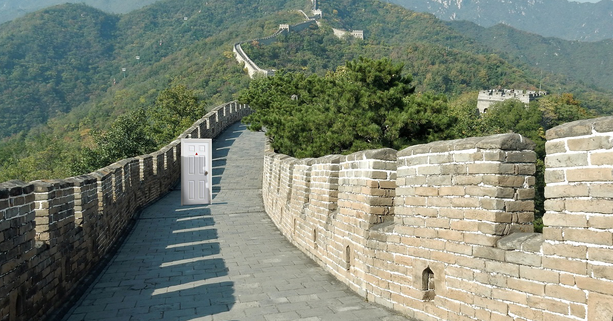 Strange White Door seen on the Great Wall of China