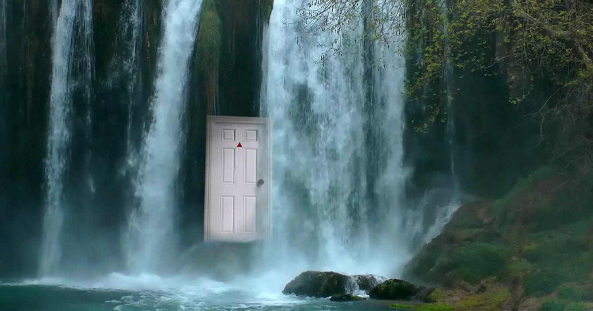 Strange White Door under the Hellgate Waterfall