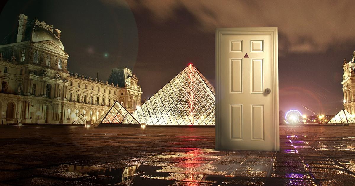 Strange White Door seen outside the Louvre