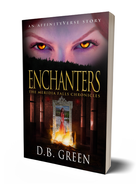 The Meridia Falls Chronicles 3 - Enchanters 3D Cover (DB Green)